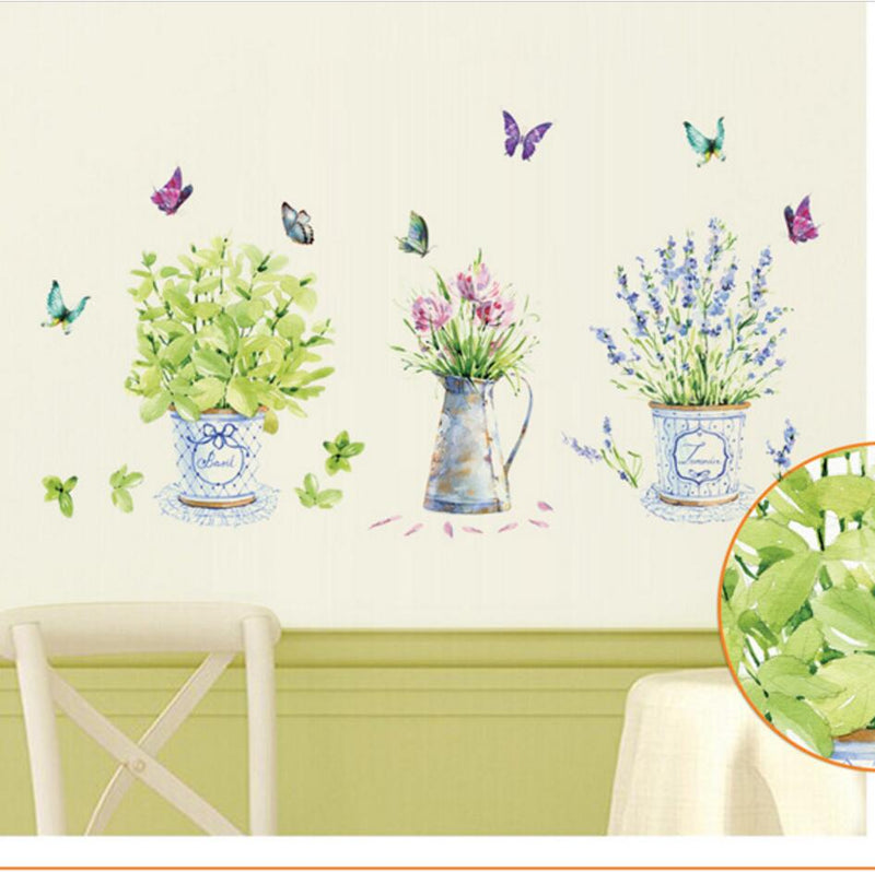 Flower Pot Butterfly Kitchen Sticker - Alpha Sticker
