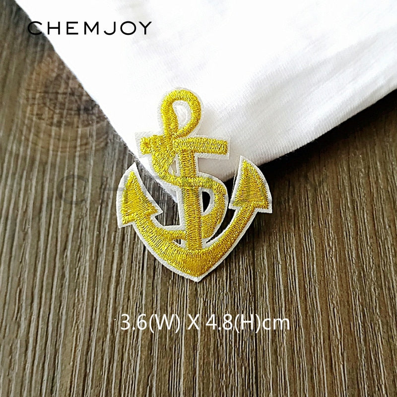 Gold Anchor Embroidered Patches - Alpha Sticker