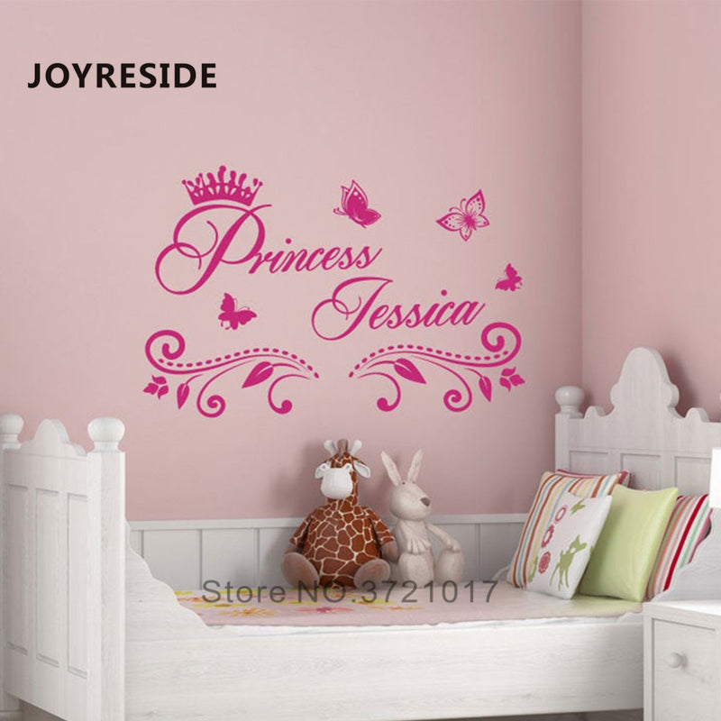 Princess Custom Girls Name Art Design Wall Sticker Home Baby Girls Bedroom Wall Decor Wall Stickers Personalized Name Vinyl M397|Wall Stickers - Alpha Sticker