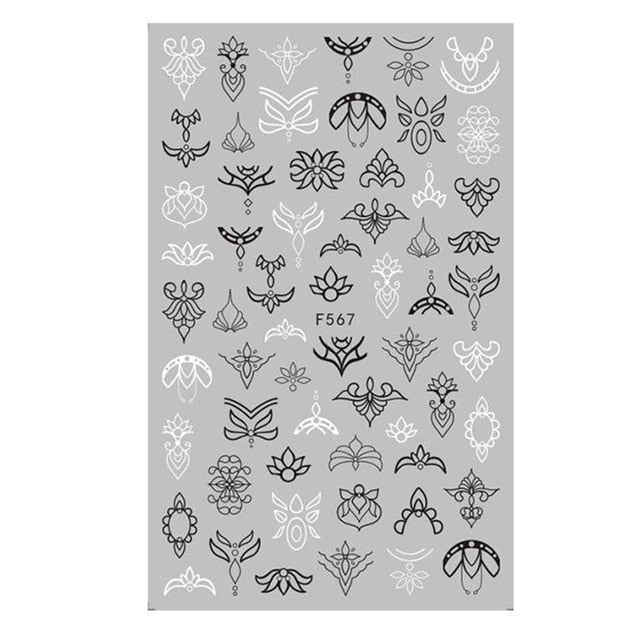 Mandala Leaf Geometry Adhesive Nail Decals Foil Design - Alpha Sticker