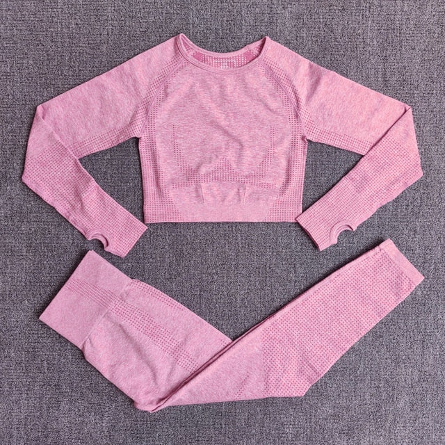 Clothing Fitness Long Sleeve Crop Top High Waist Leggings Sports Suits - Alpha Sticker