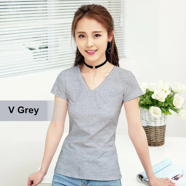 T-Shirt Pure Color Short Sleeve Women T shirt For Female Slim Tops Woman T shirts Clothing - Alpha Sticker