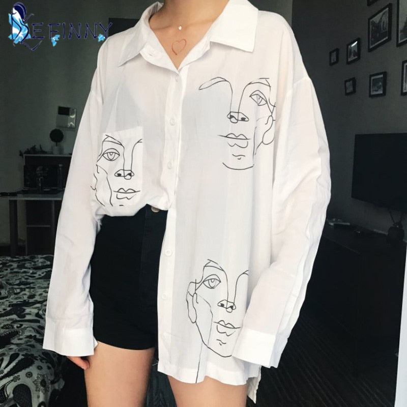 Cotton Face Printing Full Sleeve Long Shirts Women Tops Ladies Clothing - Alpha Sticker