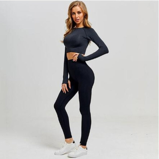 Tracksuit Women Sports Bra Leggings Set Female Gym Clothing Suits Athletic Sets - Alpha Sticker