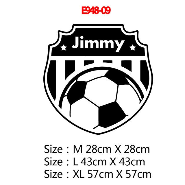 Fashion Soccer Custom Name Wall Stickers For Boys Kids Room Decor Wallpaper Personalized Football Sticker Vinyl Wall Decals|Wall Stickers - Alpha Sticker
