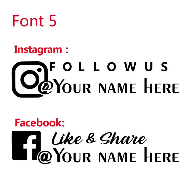Custom Name Car Sticker Personalized Instagram Facebook Account Vinyl Decal For Car Window Body Decoration Stickers|Car Stickers - Alpha Sticker