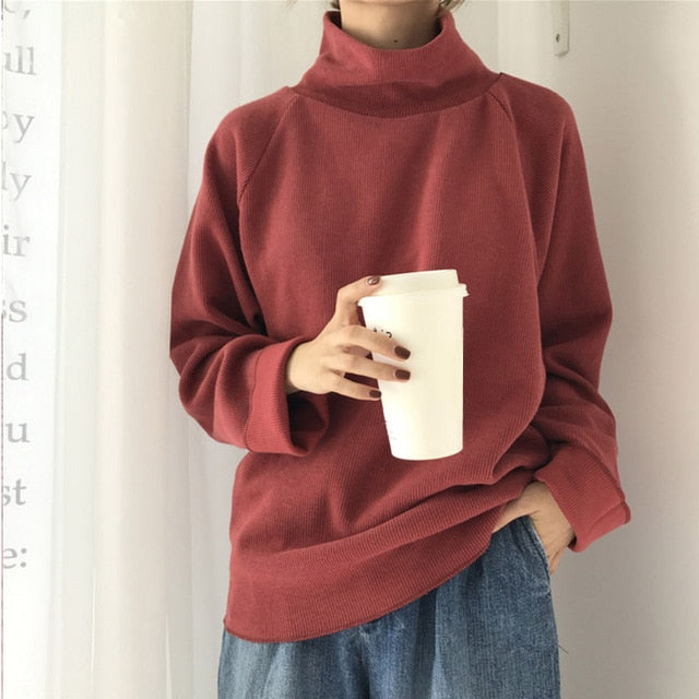 Casual Loose Long Sleeve Sweater - Alpha Sticker