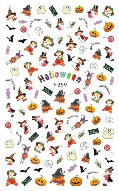 Halloween Nail Stickers, Scary Skull Decals Halloween Party Manicure Accessories - Alpha Sticker