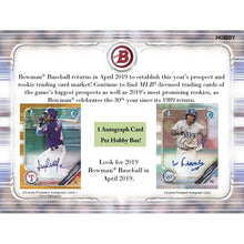 Load image into Gallery viewer, 2019 Hobby Box Jumbo Bowman Chrome