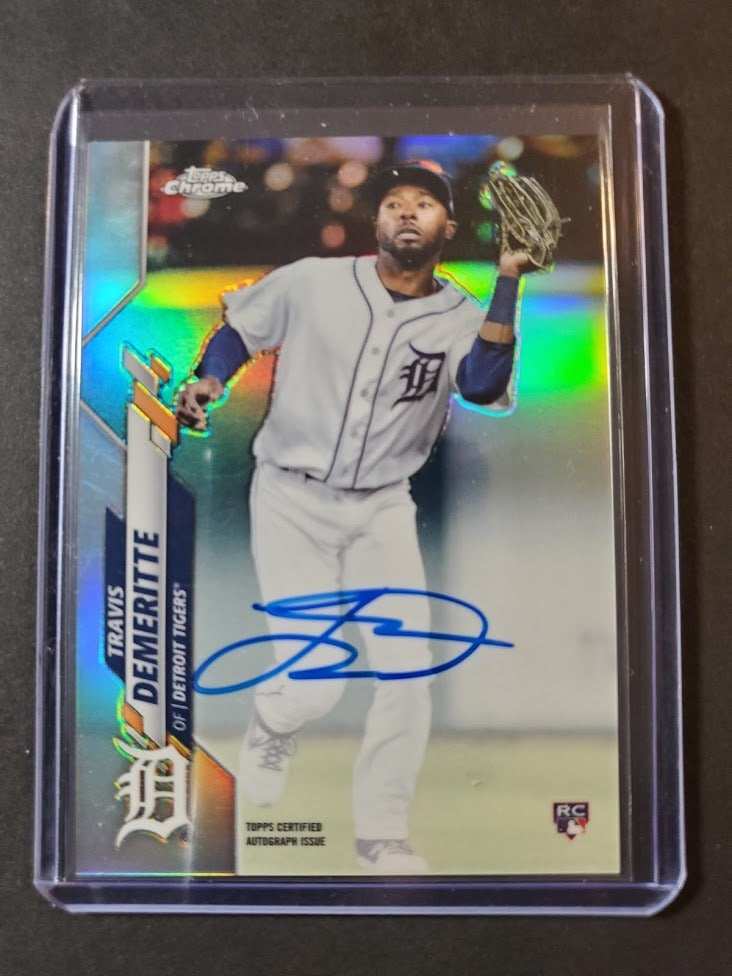2020 Topps Chrome Travis Demeritte Autographed Rookie Refractor /499