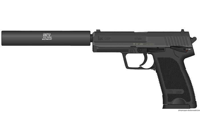 Suppressed HK, Glock or FN FNX (9mm or .45 ACP) -10 Rounds (1x10 Rounds)