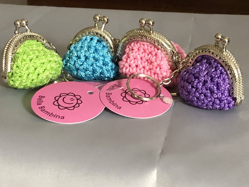 Hand crocheted mini purse key ring