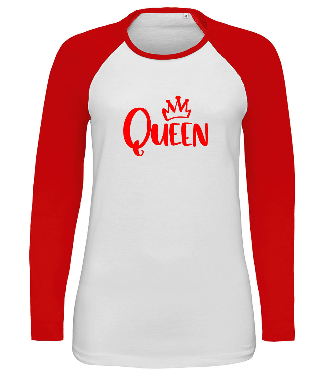 Ladies Long Sleeve Contrast T-shirt Queen