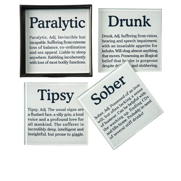 Set Of 4 Drunk Definition Glass Coasters
