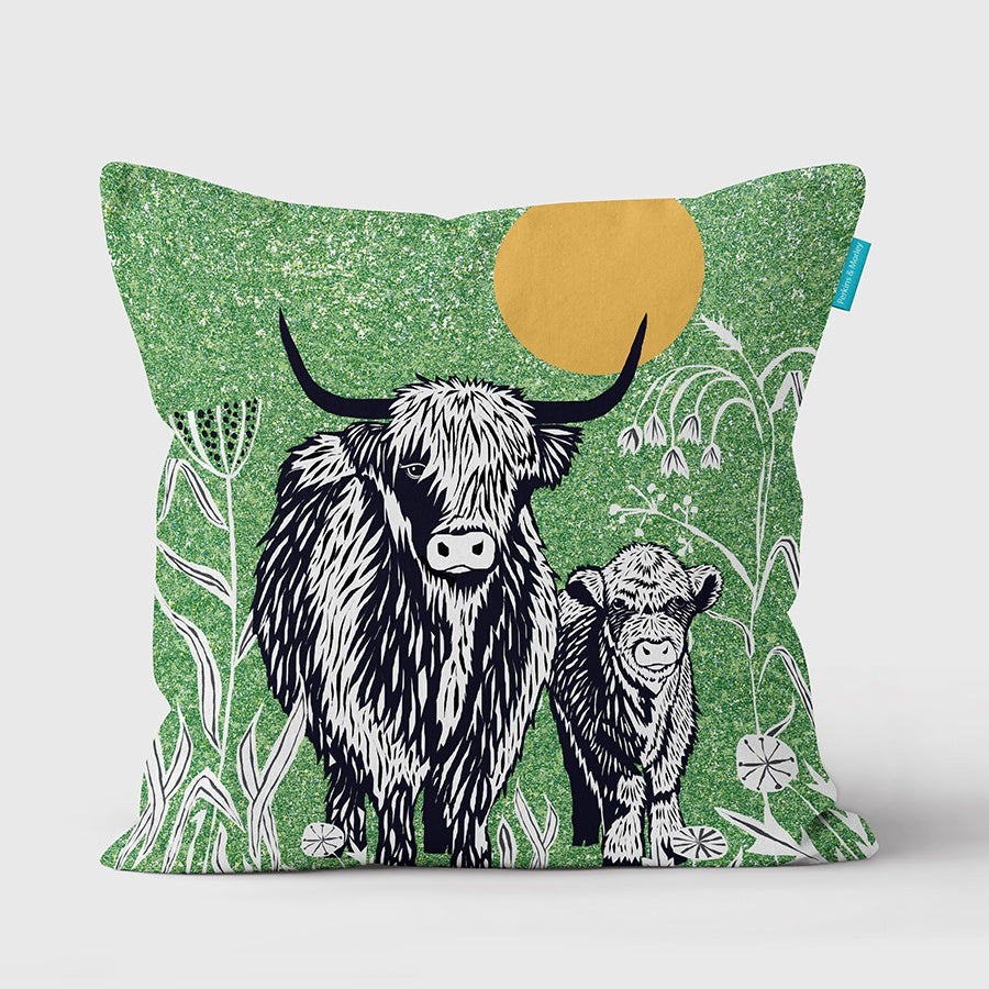 Highland Cow Wilder Vegan Suede Cushion (made to order)