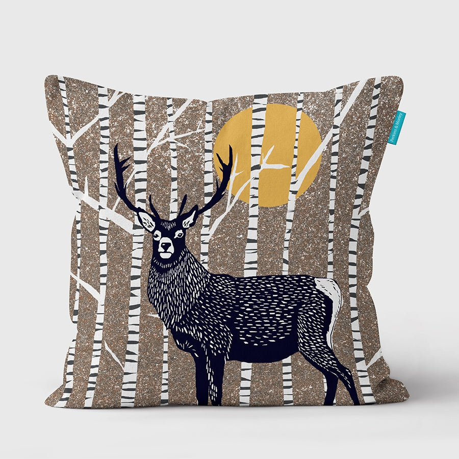 (Brown) Stag Wilder Vegan Suede Cushion (made to order)