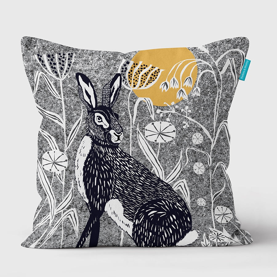 (Grey) Hare Wilder Vegan Suede Cushion (made to order)