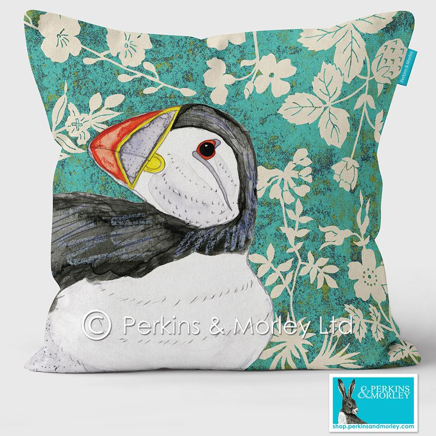 Puffin Wild Wood Vegan Suede Cushion (made to order)