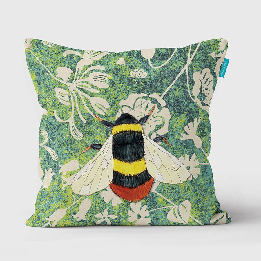 Bee Wild Wood Vegan Suede Cushion (made to order)