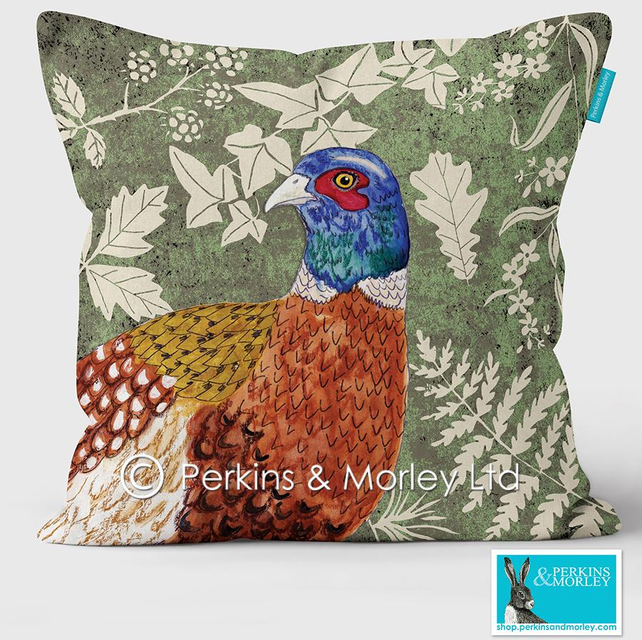 Pheasant Wild Wood Vegan Suede Cushion (made to order)