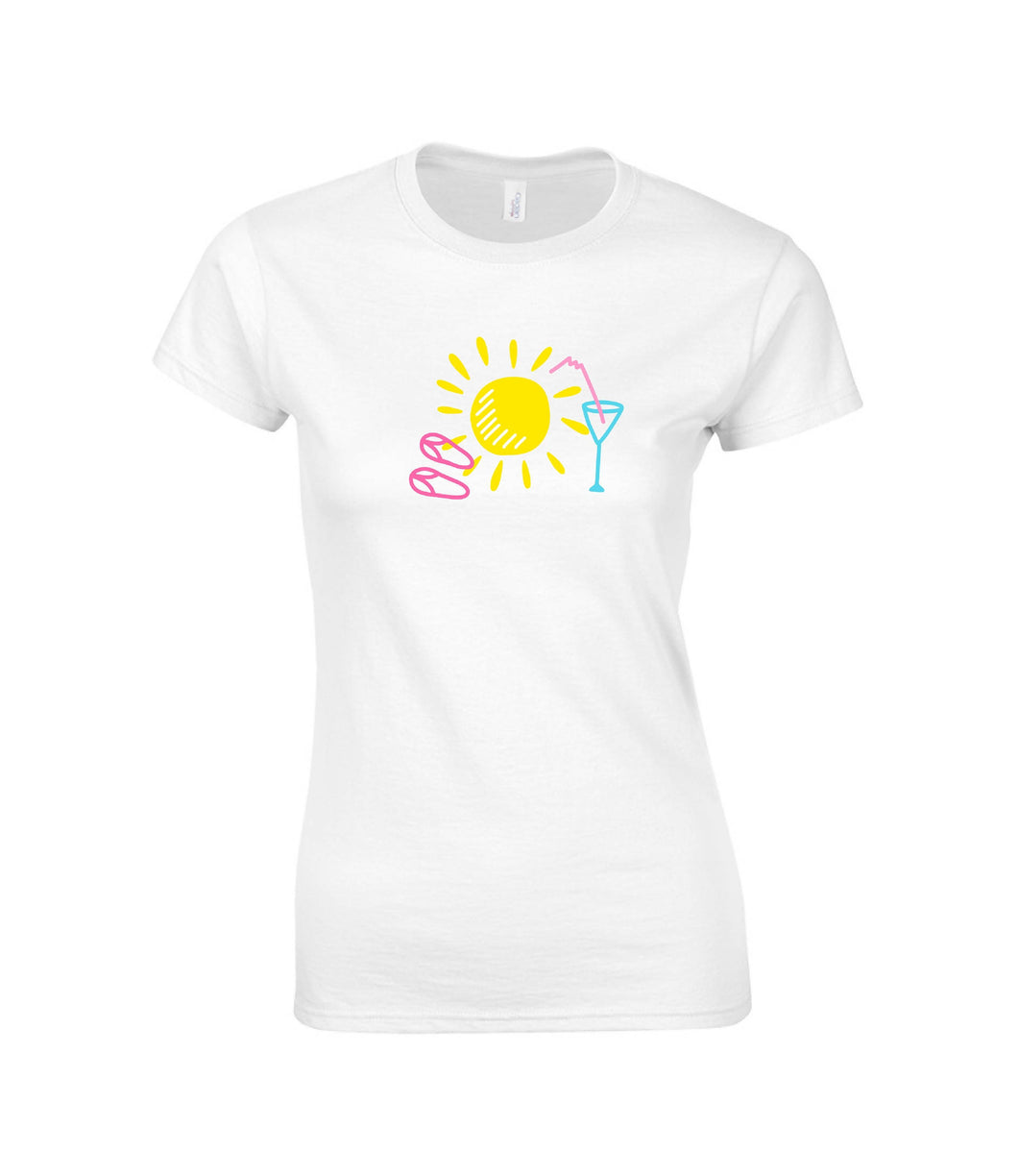 Ladies Short Sleeve T-shirt Nap Sun, Glass and Flip Flops