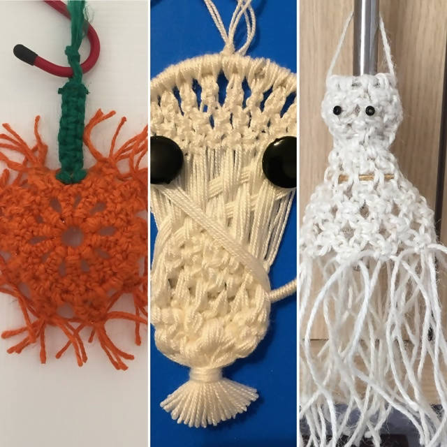 Halloween Macrame Patterns, Ghost,Skull,Pumpkin, Hanging ornaments, Bunting