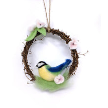 Load image into Gallery viewer, Spring Blue Tit Wreath Needle Felting Kit