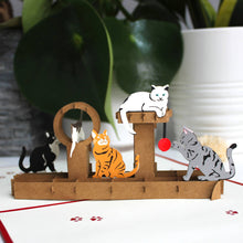 Load image into Gallery viewer, Handmade 3D Cats pop up card, birthday card, Mother's Day card, card for any occasion