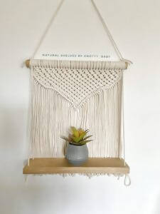 Natural Macramé Solid Oak Hanging Shelf