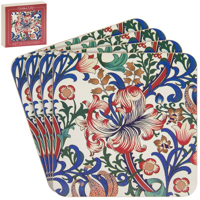 Golden Lily William Morris Coaster Set