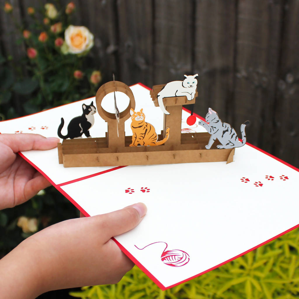 Handmade 3D Cats pop up card, birthday card, Mother's Day card, card for any occasion