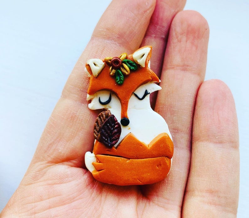 Handmade Fox Brooch