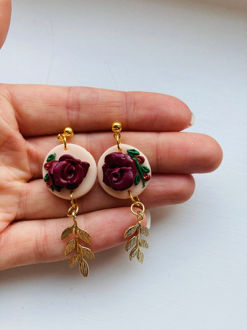 Handmade Rose & Vine Earrings