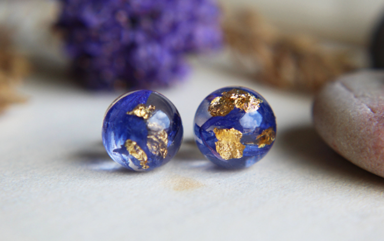 Real cornflower and gold sterling silver resin stud earrings