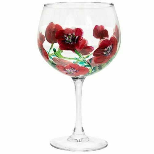 Poppies Painted Gin Glass