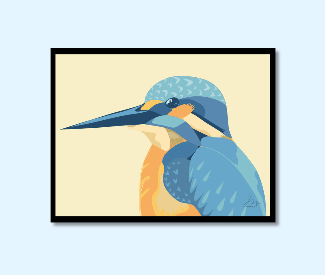 A4 Kingfisher Bird Print