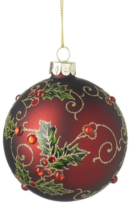 Red Glass Holly Bauble