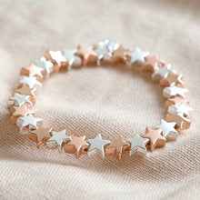 Load image into Gallery viewer, Silver and Rose Gold Star Stretch Bracelet - Lisa Angel