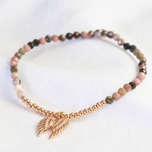 Load image into Gallery viewer, Rose Gold Stone Bead & Wing Charm Bracelet - Lisa Angel