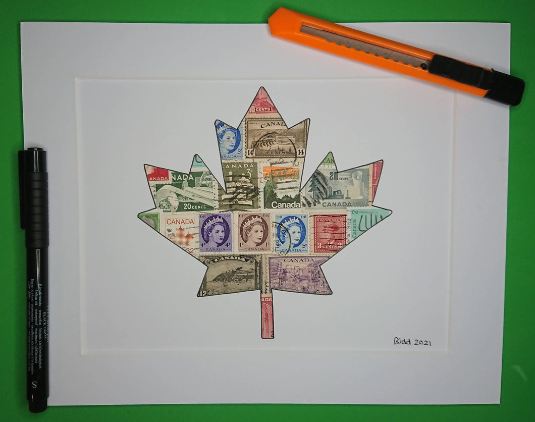 Canadian Maple Leaf stamp art picture