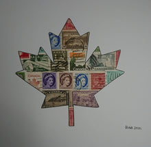 Load image into Gallery viewer, Canadian Maple Leaf stamp art picture