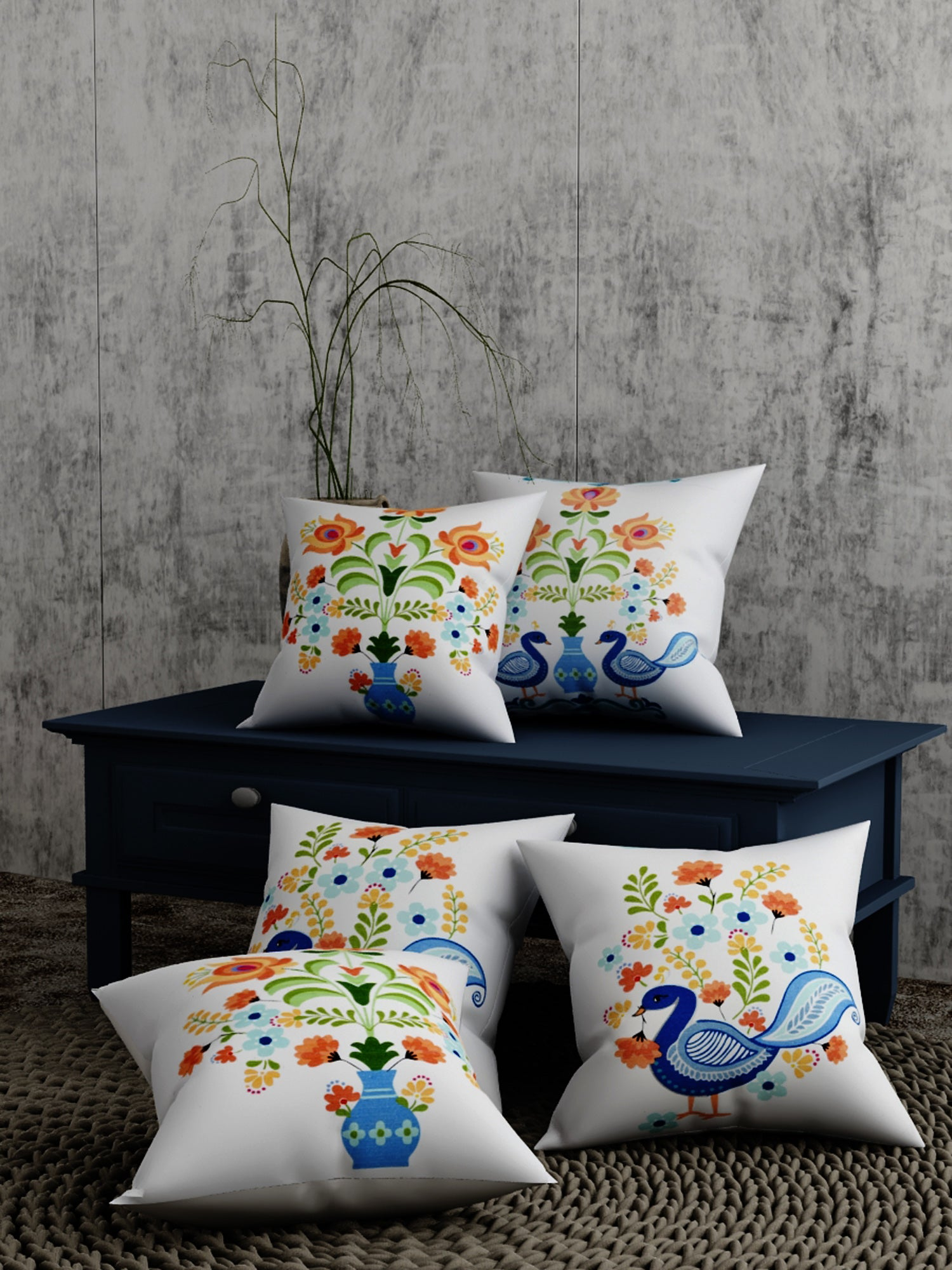Peacock Print Set of 5 Cushion Cover