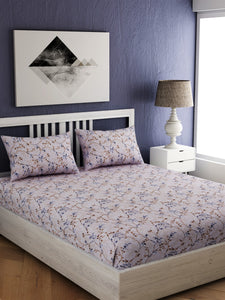 EverHome Blaze 210TC 100% Cotton Double Queen Size Bedsheet with 2 Pillow Cover(90X100 cm)