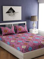 Load image into Gallery viewer, Pink Geometric Print 100% Cotton Bedsheet