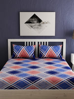 Load image into Gallery viewer, Blue Geometric Print 100% cotton Bedsheet