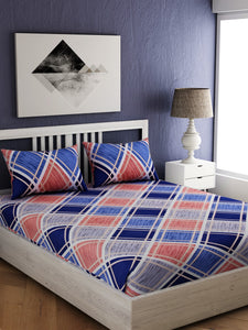 Blue Geometric Print 100% cotton Bedsheet
