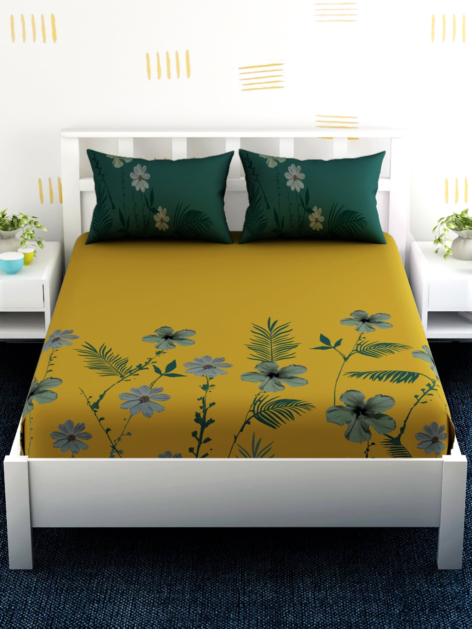 Yellow Floral 100% Cotton Bedsheet Set