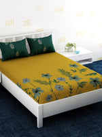 Load image into Gallery viewer, Yellow Floral 100% Cotton Bedsheet Set