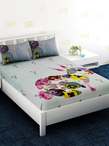 Cosmea Dried Flower Super King Double Bed Bedsheet with 2 Pillow Covers