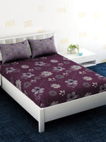 Load image into Gallery viewer, Purple Floral 100% Cotton Bedsheet Set